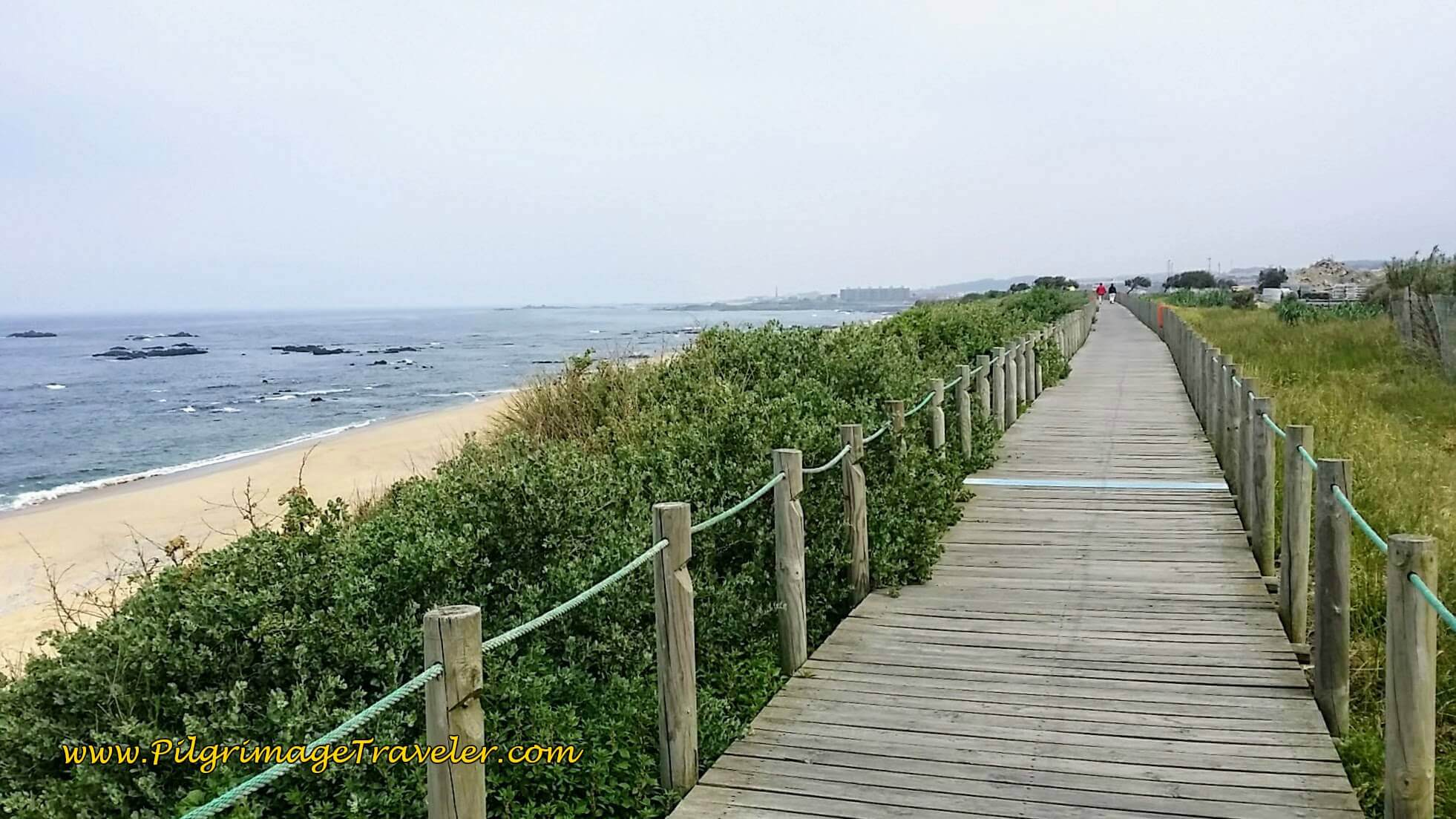 Boardwalk of Praia do Aterro on day fifteen of the Portuguese Way on the Senda Litoral