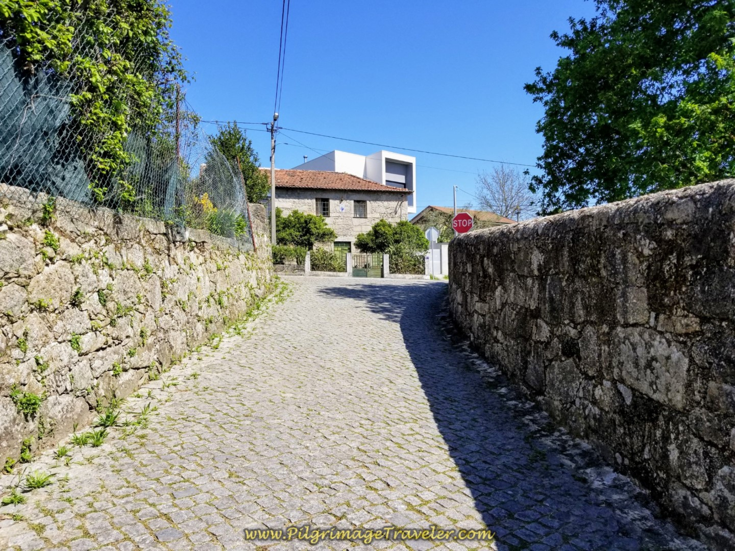 Crossing the N308 in Balugães on day seventeen on the Central Route of the Portuguese Camino
