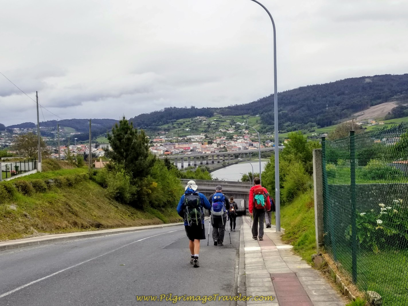 Nice Steep Downhill Back Towards the River on day one of the Camino Inglés