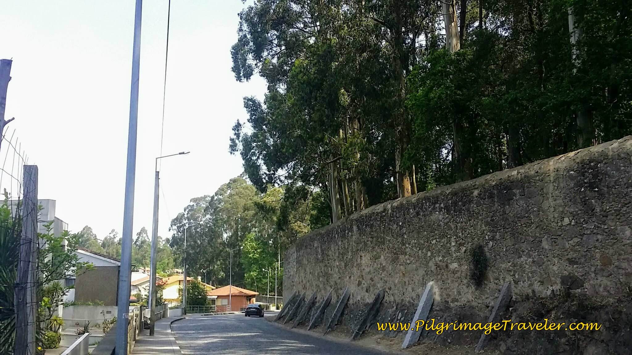 High Walls of the Monestary Grounds on the  Rua da Guarda on day fourteen of the Portuguese Way
