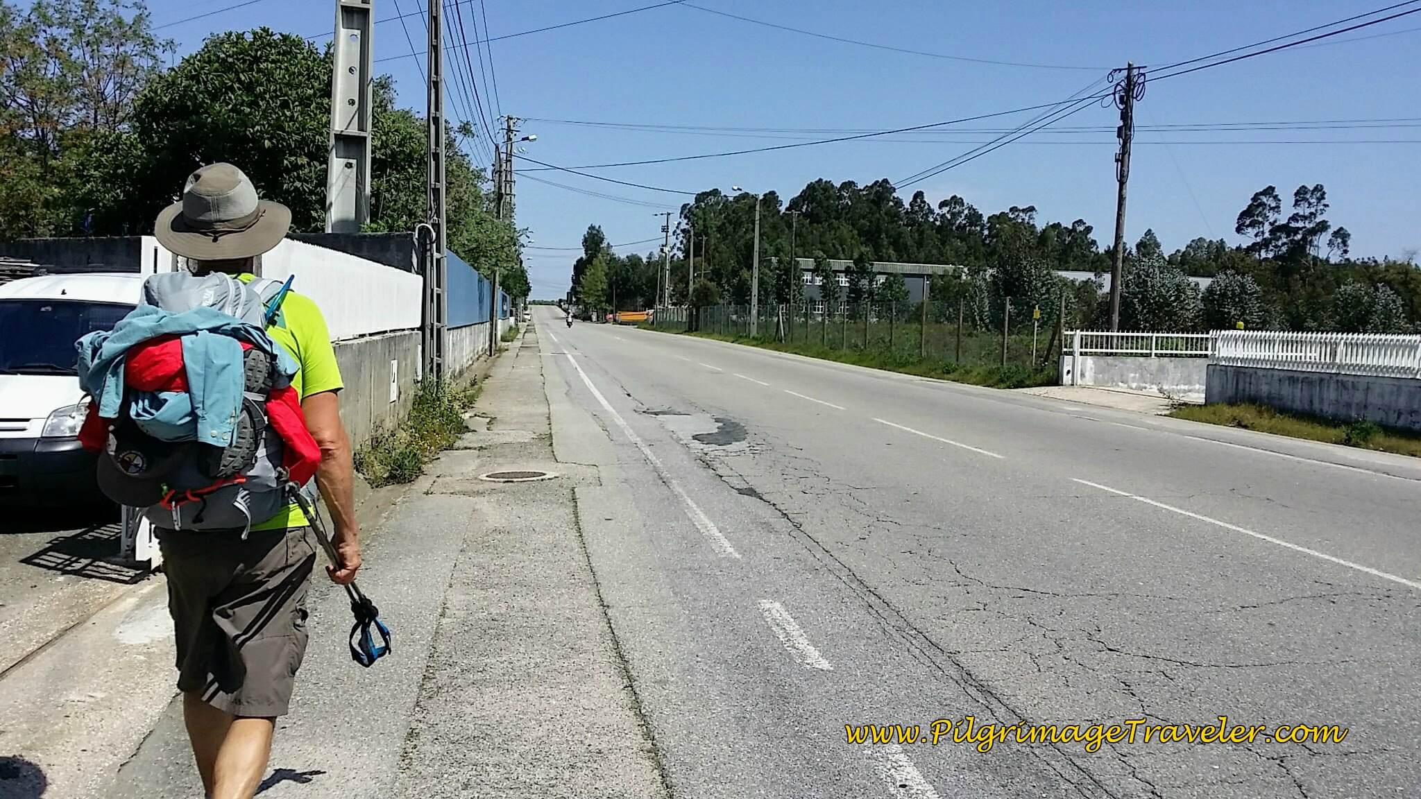 Heading North on Busy Industrial Road on day eleven of the Portuguese Camino