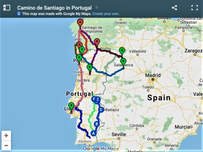 Map of Portuguese Routes from Spirit of the Camino