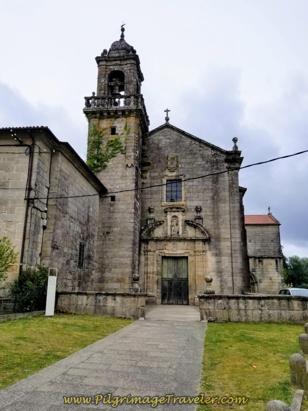Walking by the Igrexa de Santo do Domingo in Tui on day twenty on the central route of the Portuguese Camino