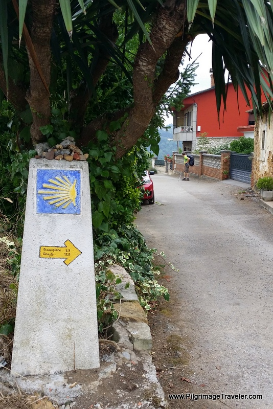 Shell Waymark, Pointing to Escamplero, Day One Camino Primitivo, Asturias, Spain