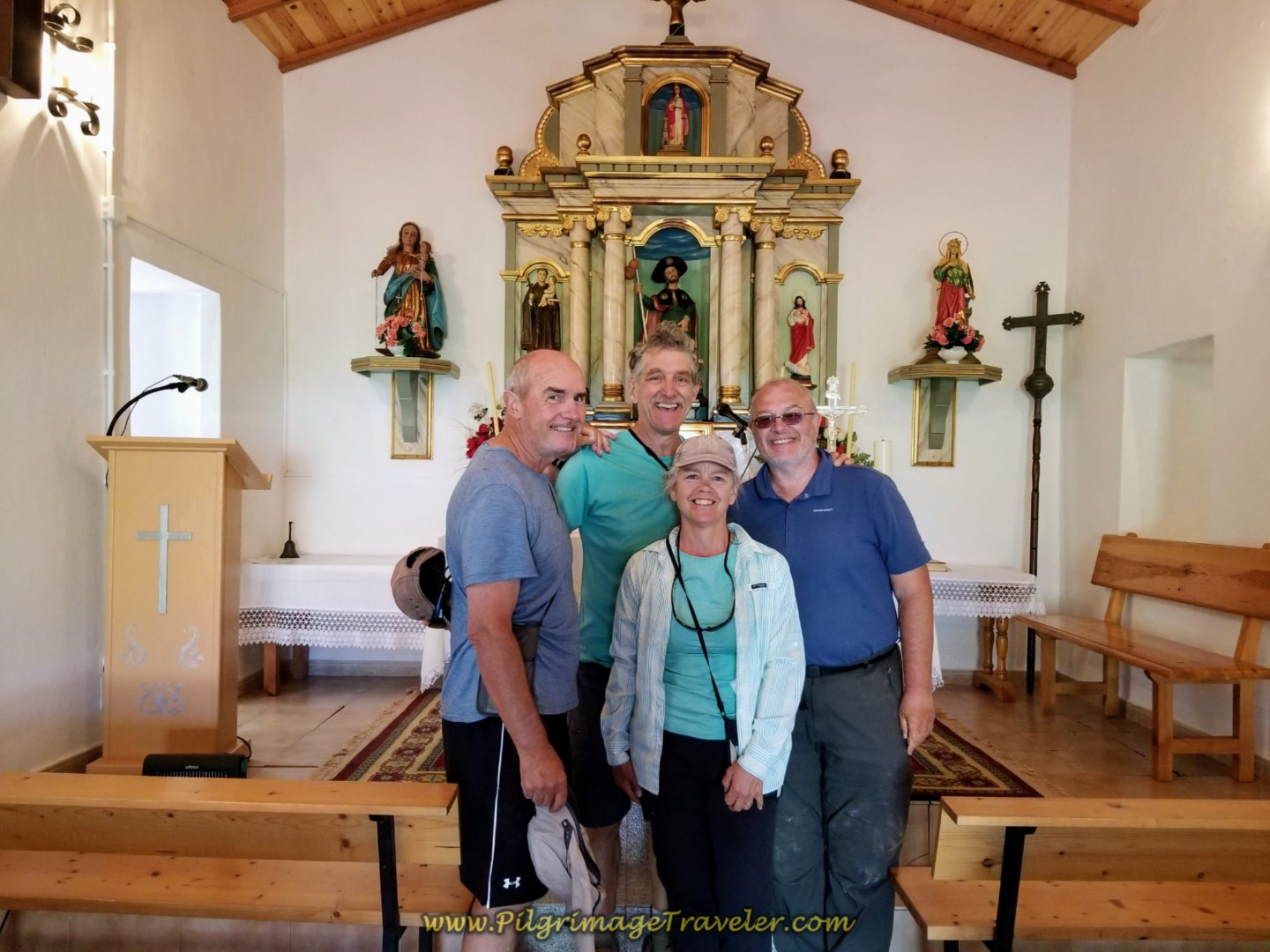 Rob, Rich, Elle and Steve Inside the Capela de San Roque in As Travesas on day six of the Camino Inglés