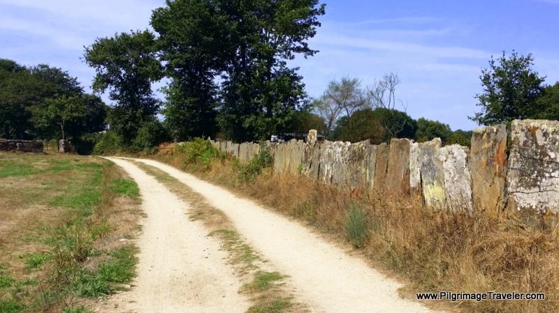 Wall of Flat Stones Break the Monotony in Galicia, Spain