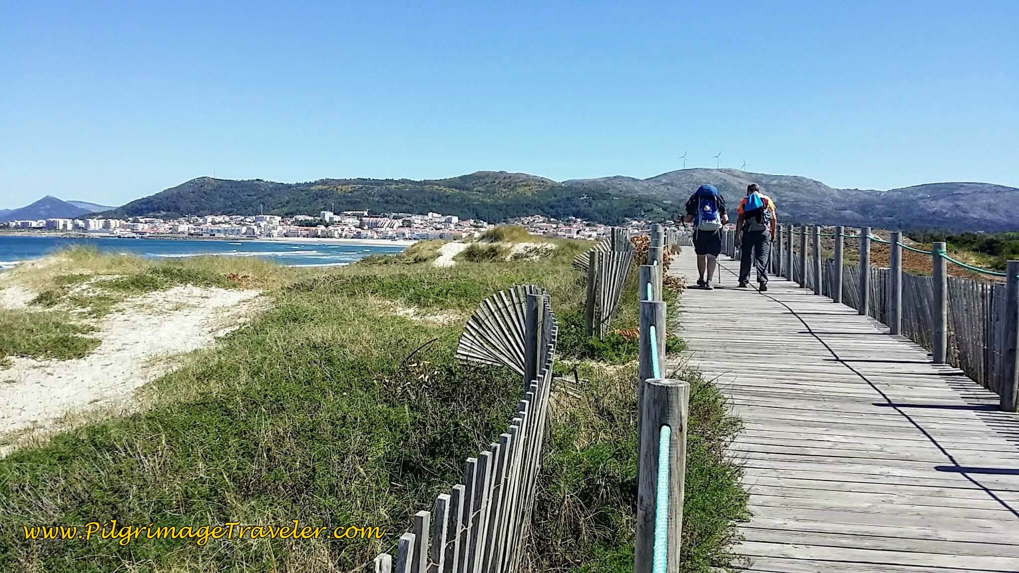 Boardwalk Through Dunes Towards Âncora on day eighteen of the Portuguese Way on the Senda Litoral