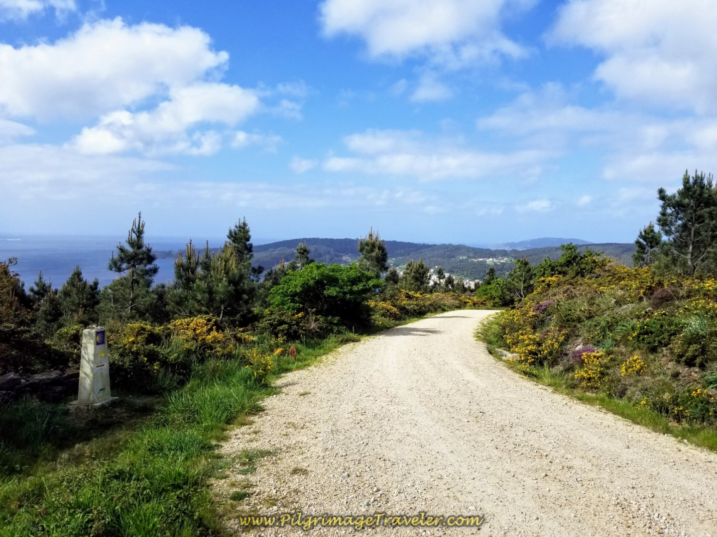 First Glimpse of Cabo Fisterra on day three of the Camino Finisterre