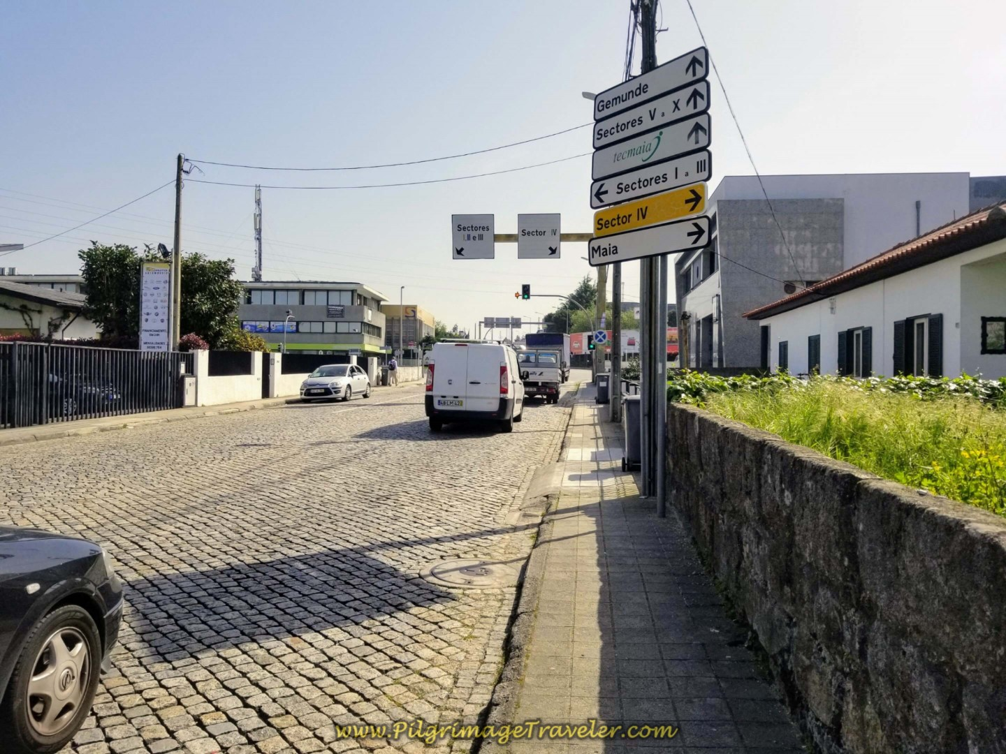 Walk Uphill in the Industrial Area of Maia on day fifteen on the Central Route of the Portuguese Way