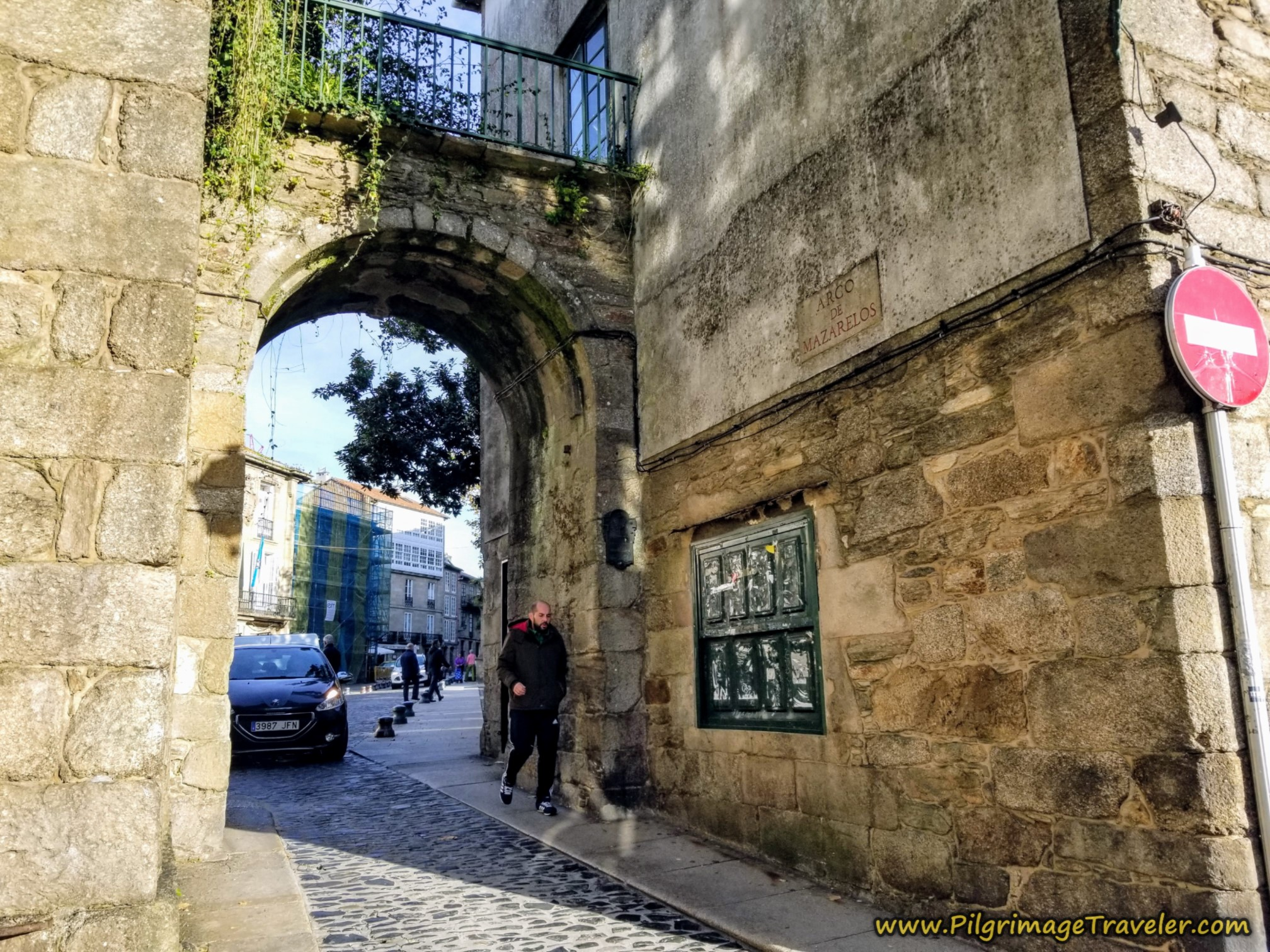 Walk Through the Medieval Gate, the Arco de Mazarelos on the Camino Sanabrés from A Susana to Santiago de Compostela