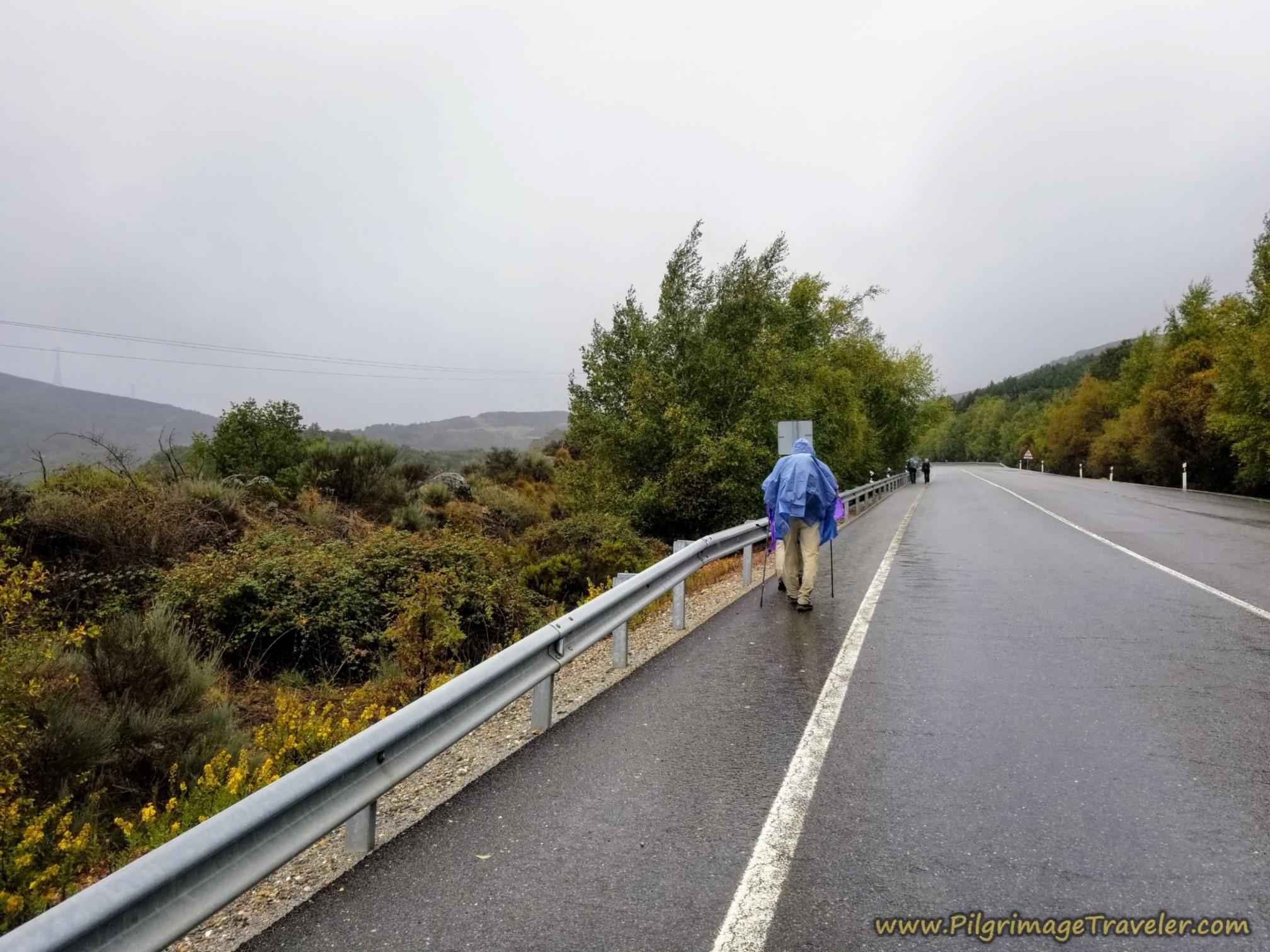 Pushing Upward in the Rain towards the Alto de Padornelo