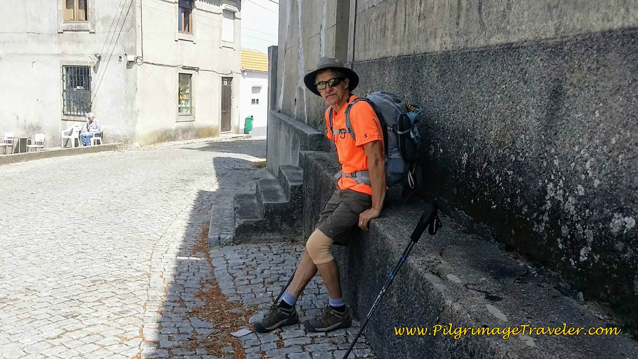 Taking a Break in the Shade in Town Square of Casal on day fourteen of the Camino Portugués