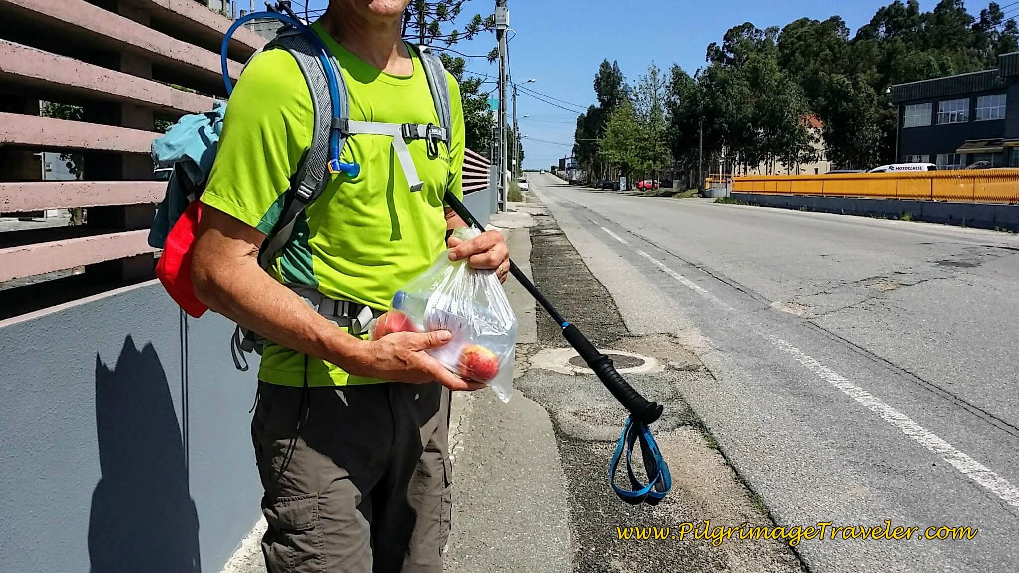 Apples and Cold water from our Camino Angel on day eleven of the Portuguese Camino