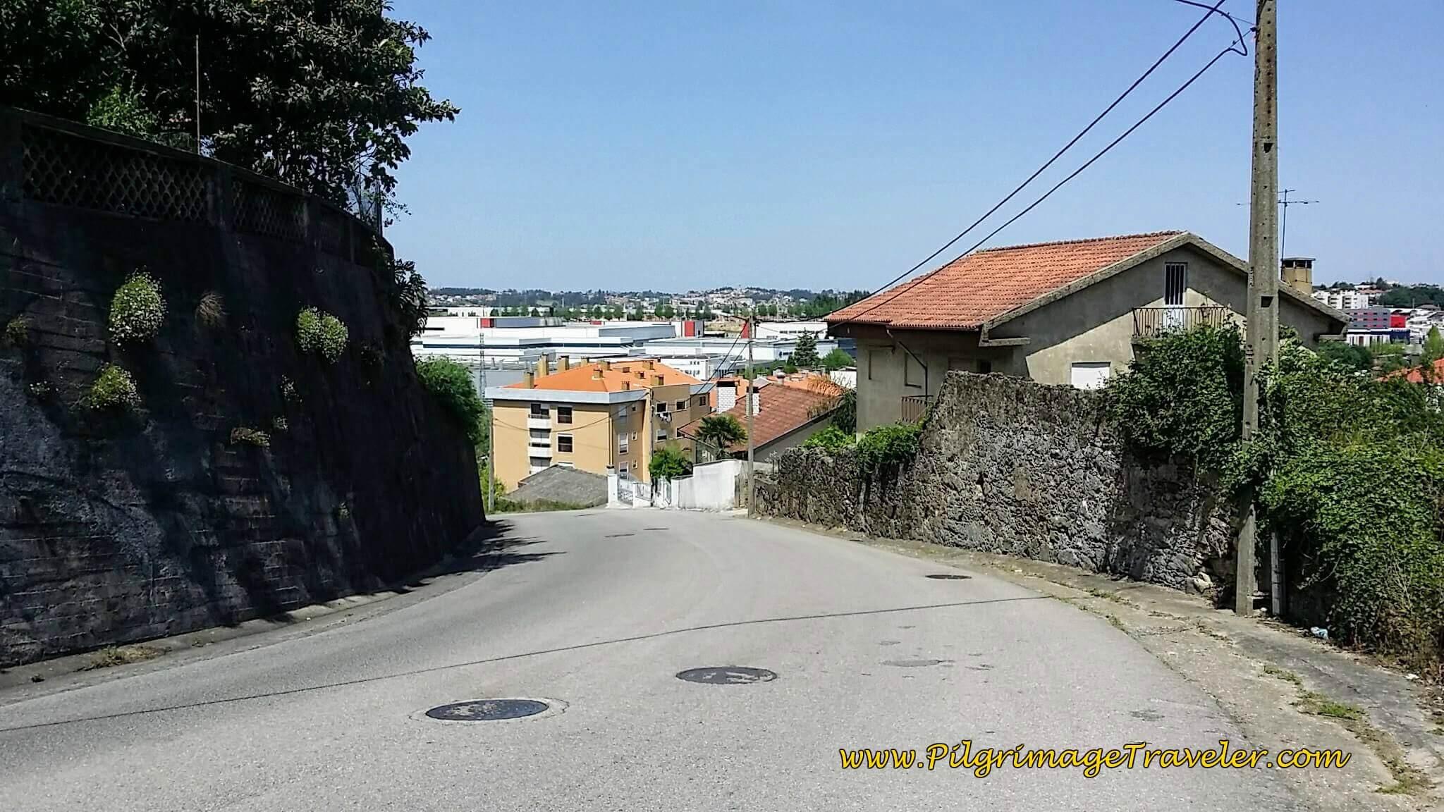 Down the Hill on the Rua Mte. Guilherme Pereira da Silva on day thirteen of the Camino Portugués