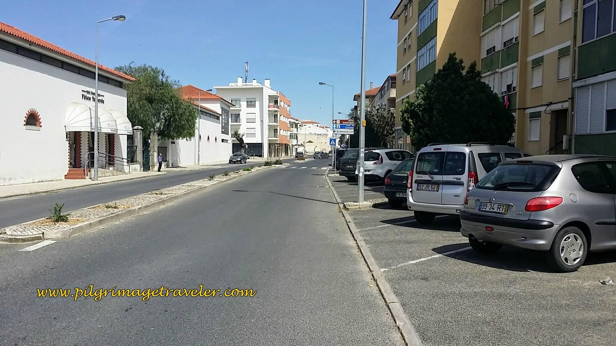 Avenida do Valverde into the Center of Town, Azambuja, Portugal