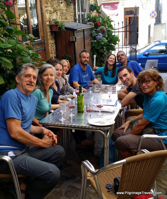 pilgrims gather for dinner in A Fonsagrada