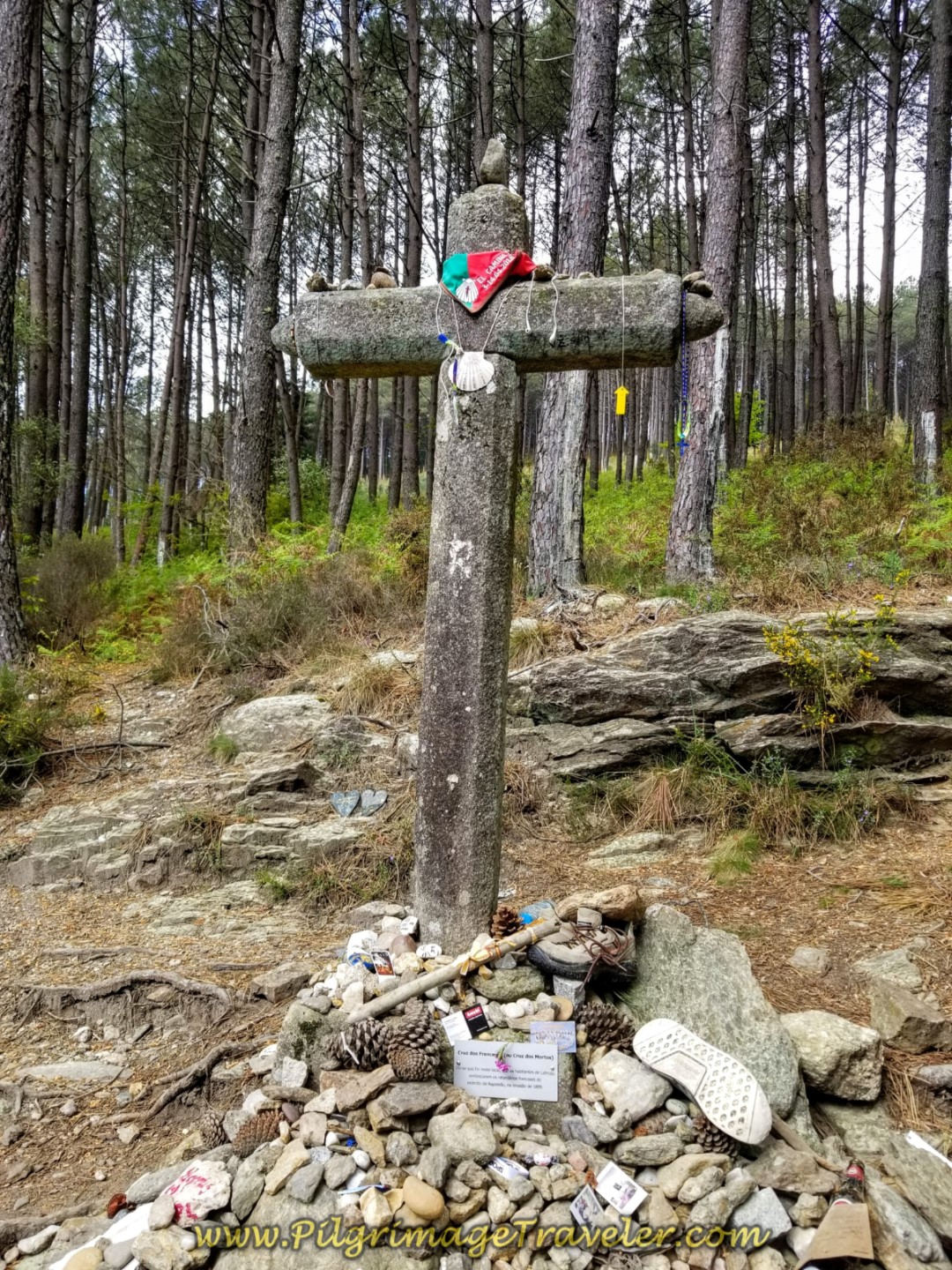 The Cruz dos Franceses (the French Cross),    on day eighteen on the Central Route of the Portuguese Camino. This cross is the equivalent, I suppose of the Cruz de Ferro on the Camino Francés.