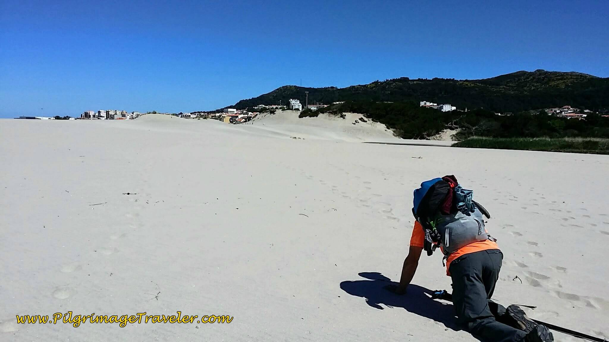 Rich Crossing the Caldron Beach Dunes on Hands and Knees on day eighteen of the Portuguese Way on the Senda Litoral