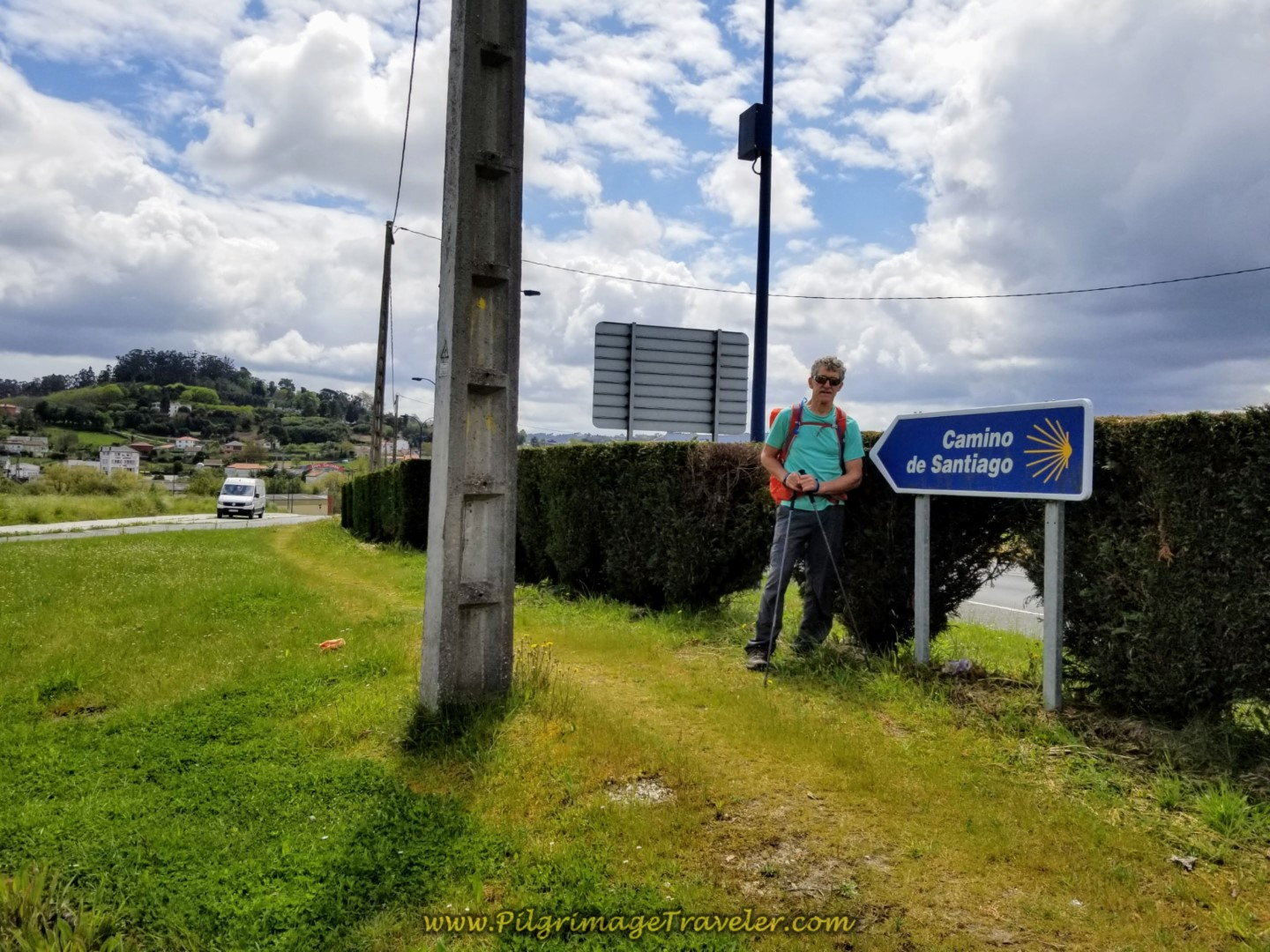 Rich and the Camino de Santiago Sign on day one of the La Coruña Arm of the Camino Inglés