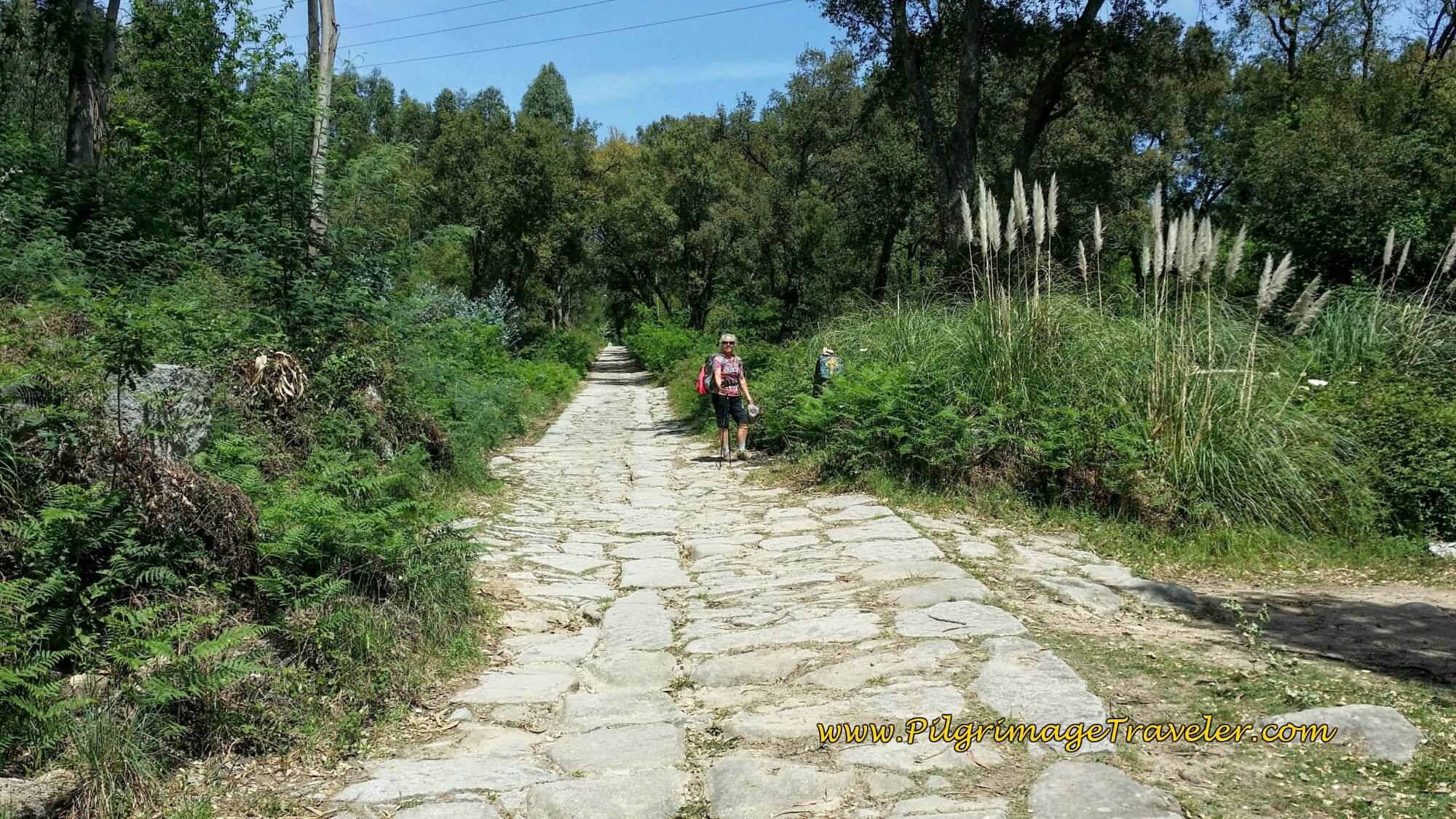 Elle on Section of the Roman Road on day fourteen of the Camino Portugués