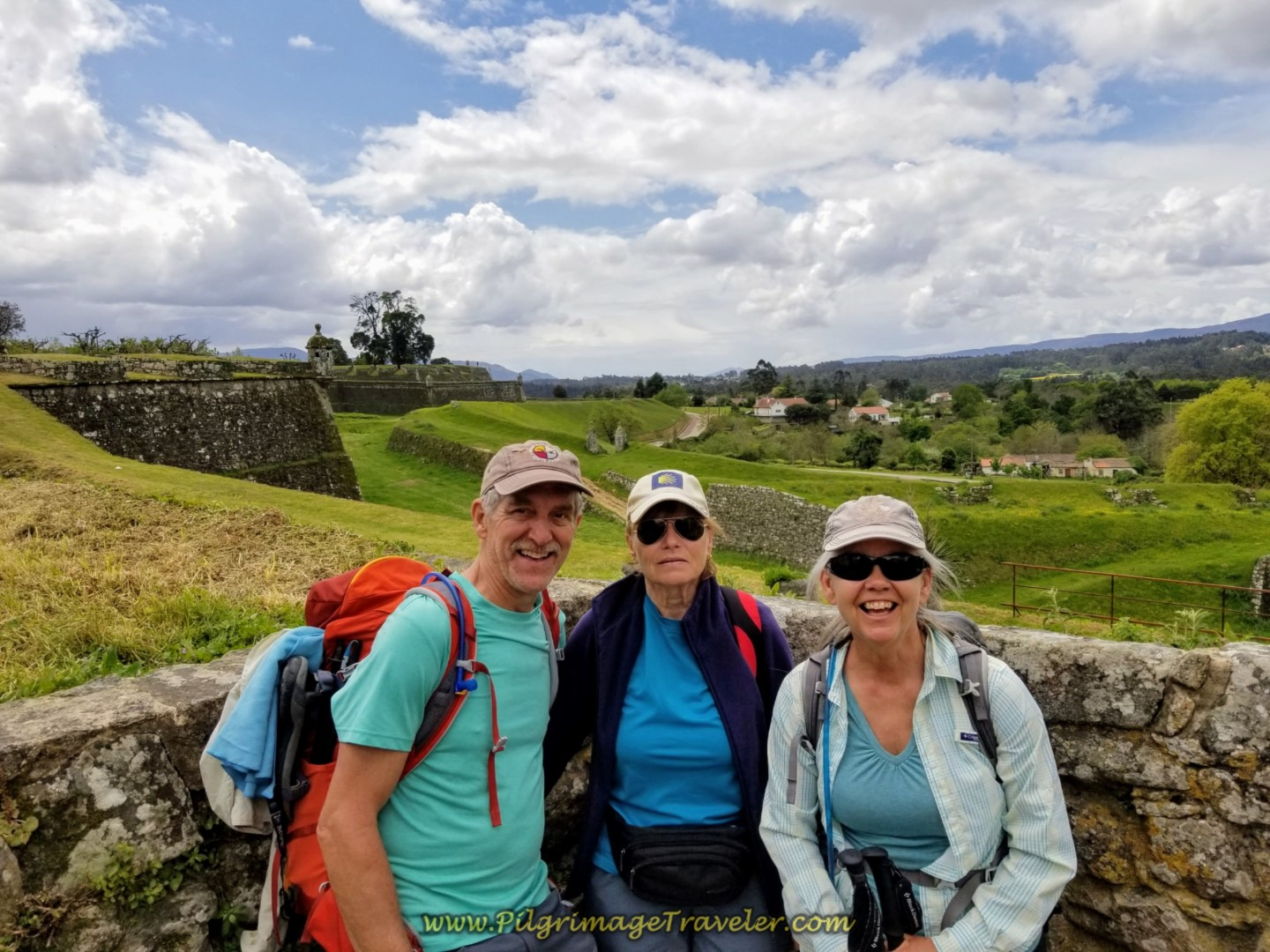 Rich, Glyvia and Elle on Valença's Rampart Walls on day nineteen on the Central Route of the Portuguese Camino