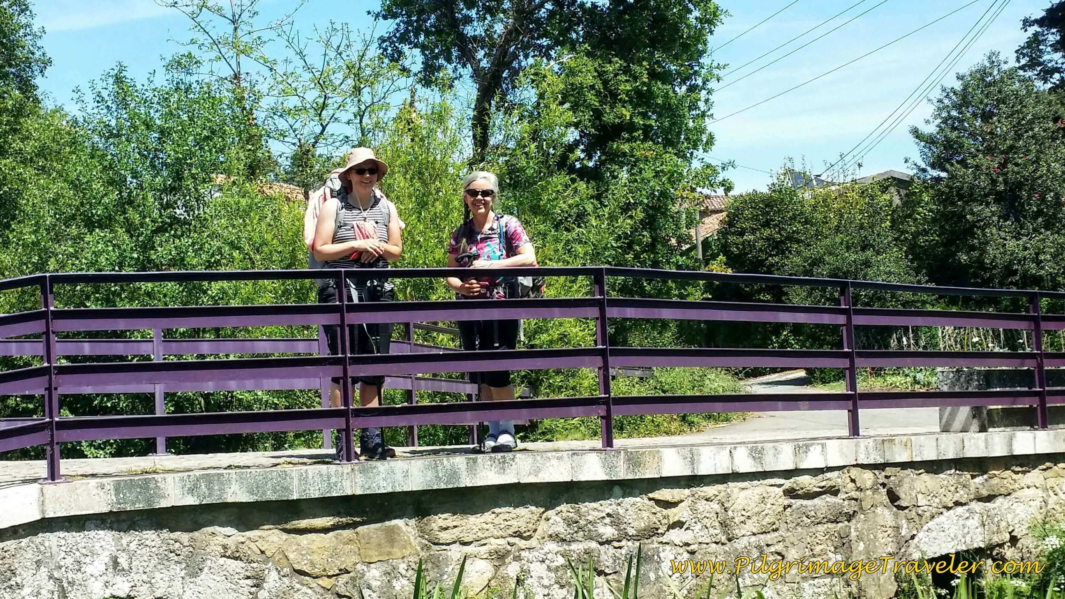 Lisa and Elle on Bridge Over the Río Tinto on Day Twenty-Four, Portuguese Camino