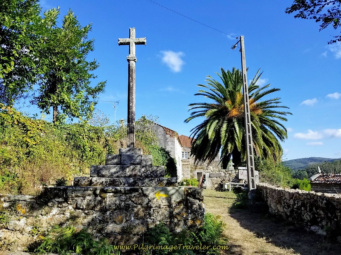 Cruceiro by the Monasterio de San Martiño de Ozón on day three of the Camino Finisterre to Muxía