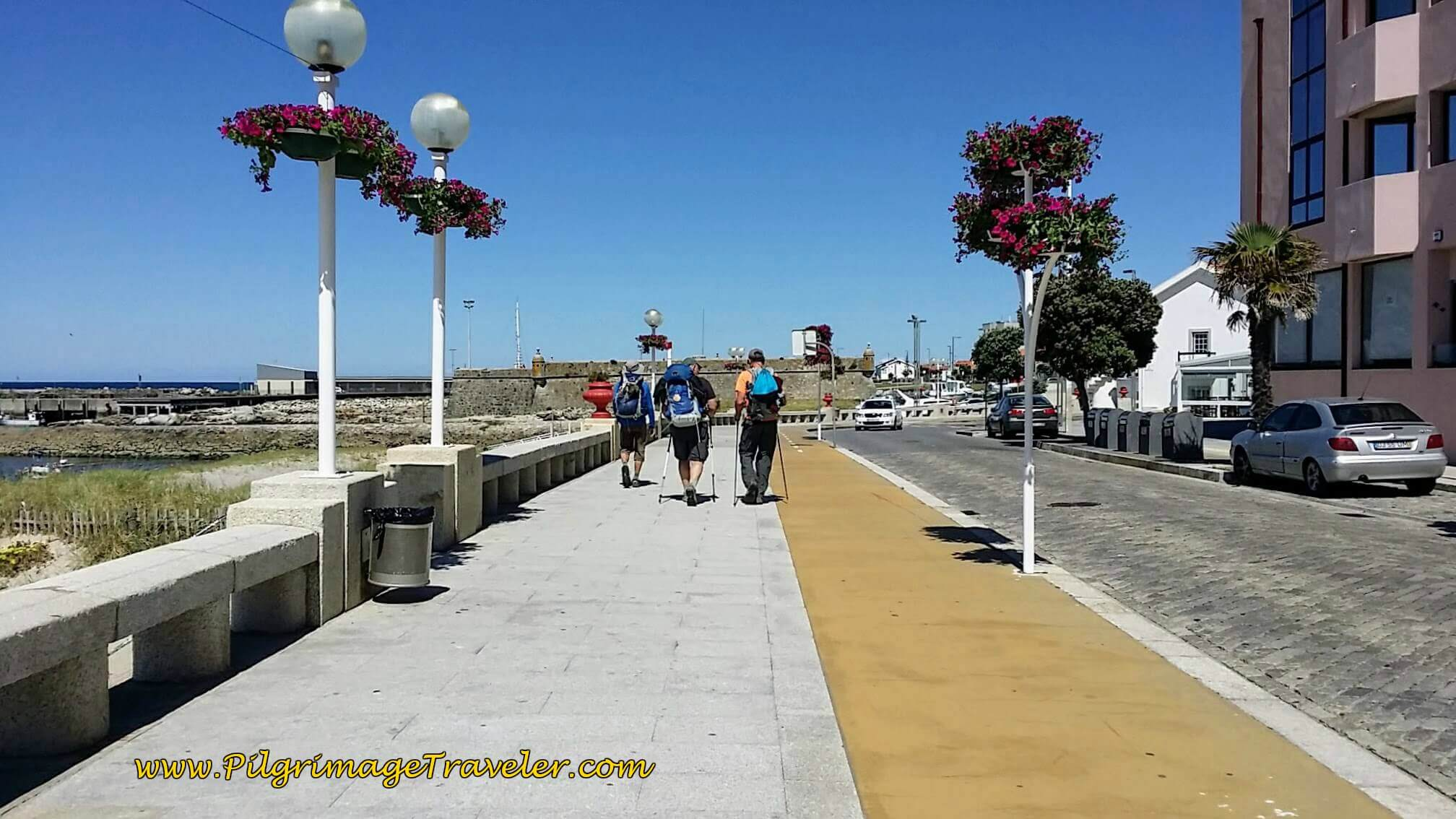 Michele, Steve and Rich on Seacoast Promenade of Âncora on day eighteen of the Portuguese Way on the Senda Litoral