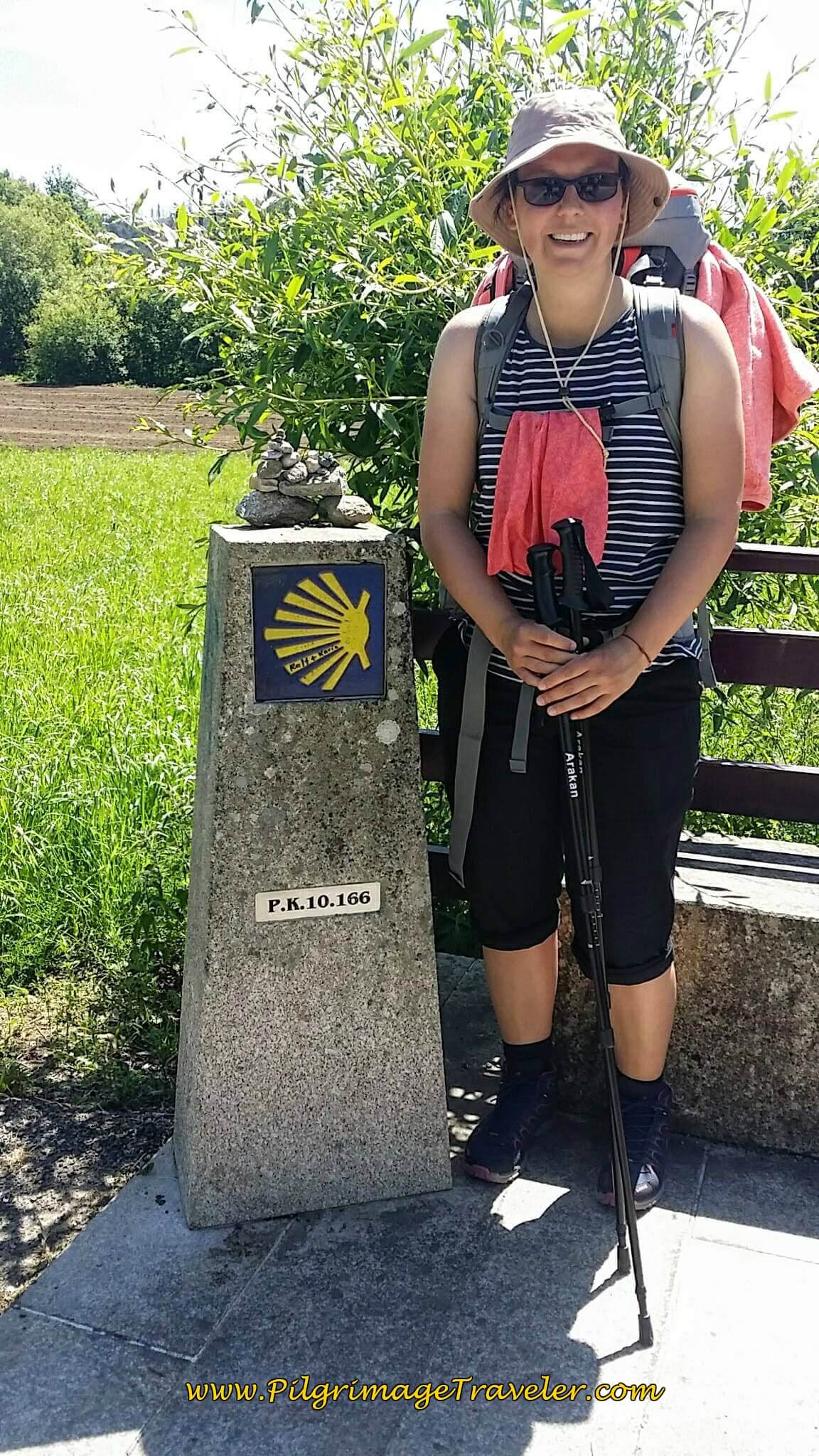 Lisa at the 10 Km Marker on Day Twenty-Four, Portuguese Camino