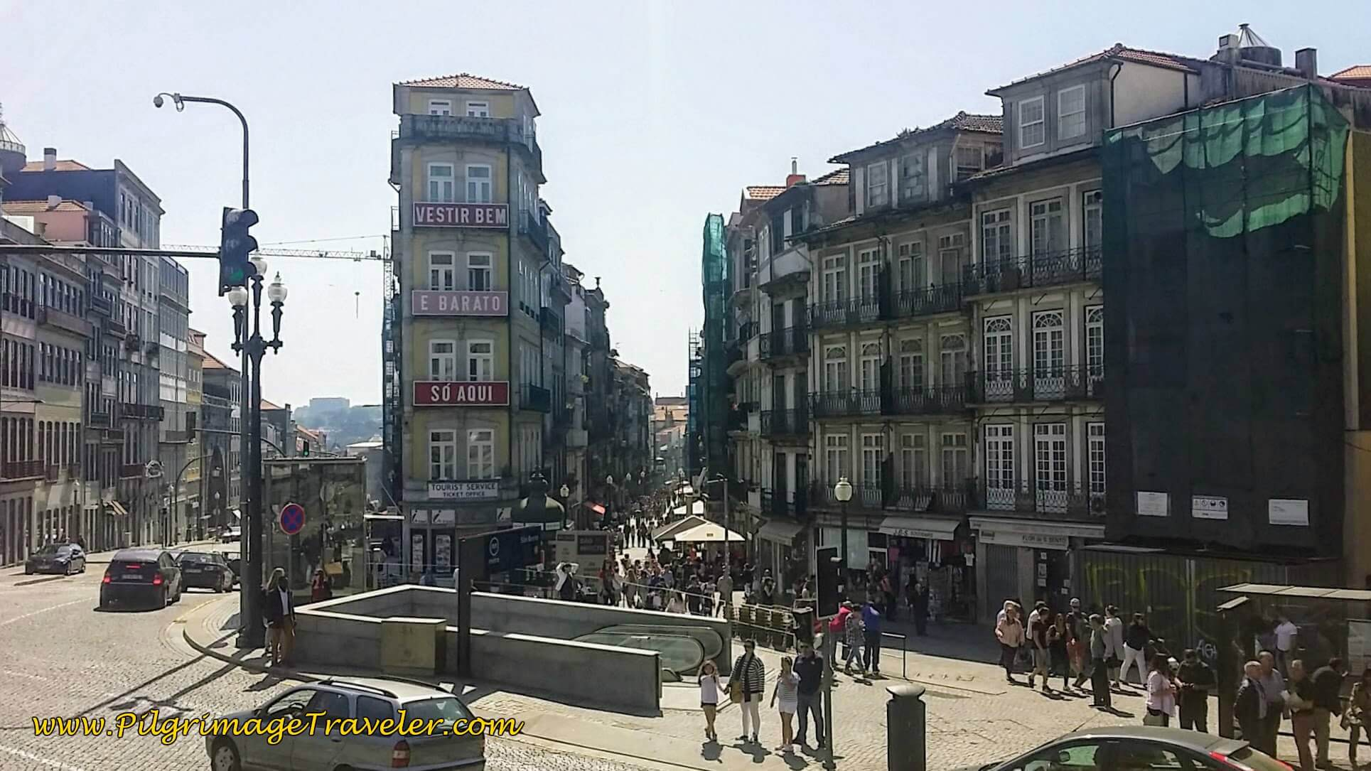 Rua de Mouzinho da Silveira by the Metro Station in Porto, Portugal