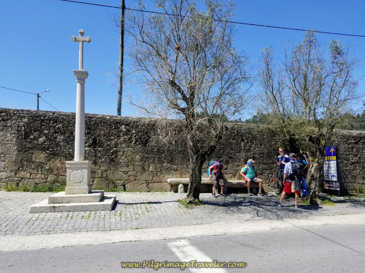 Rest Stop at the Cross and Information Board in Pedra Furada on day sixteen on the Central Route of the Portuguese Way