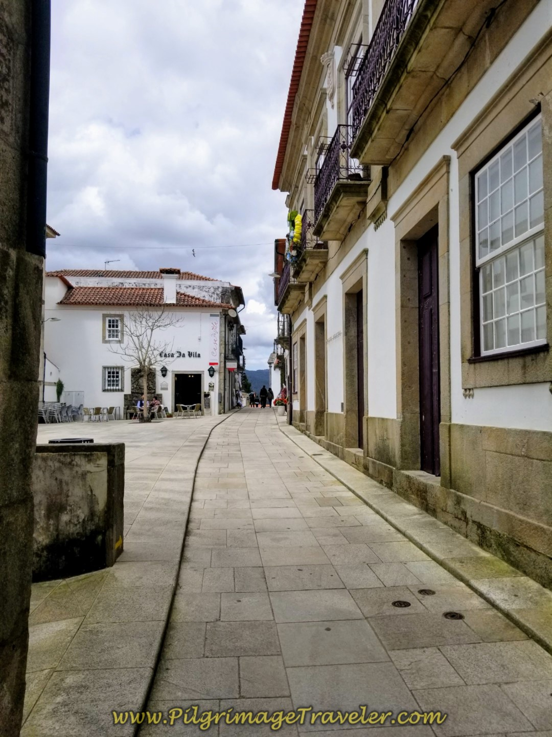 Through the Streets of Valença on the Rua de Mousinho de Albuquerque on day nineteen on the Central Route of the Portuguese Camino