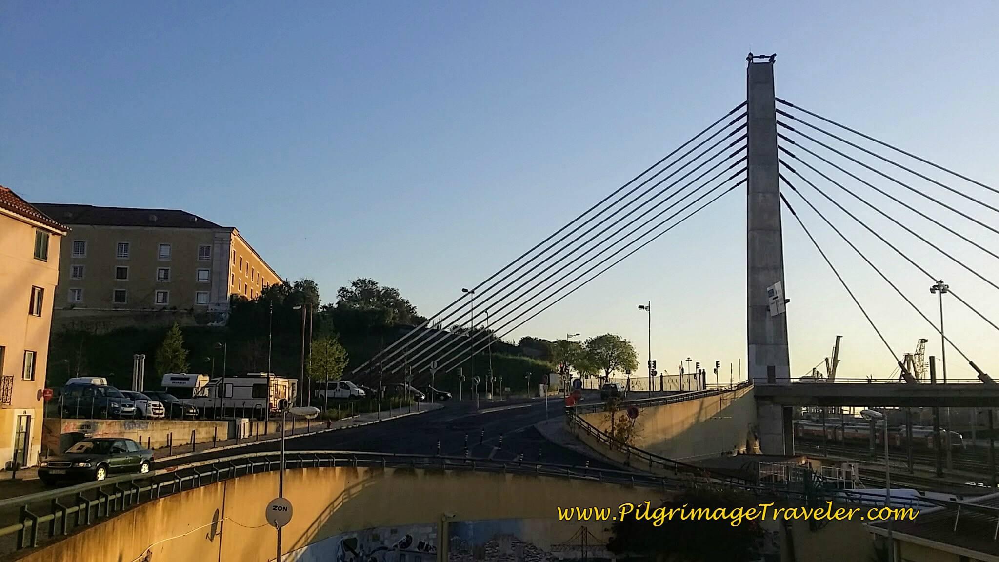 Rua de Santa Apolónia and Bridge after leaving Lisbon on the first day of the Camino Portugués