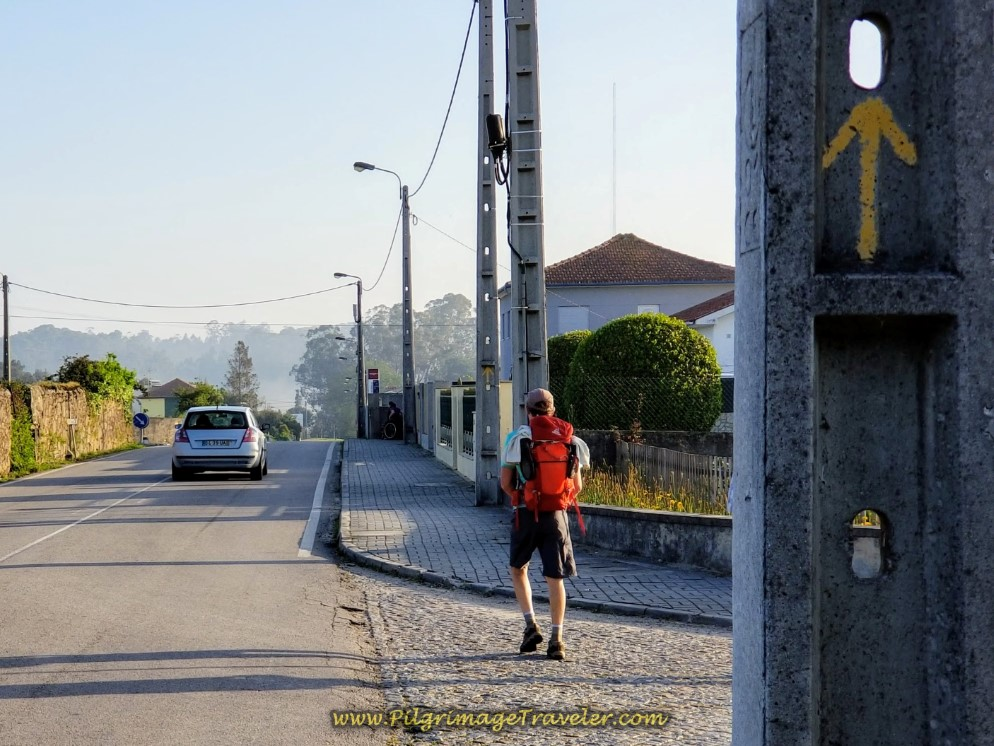 Rich Approaching the First Decision Point in Vilarinho, Portugal on the Central Route of the Camino Portugués