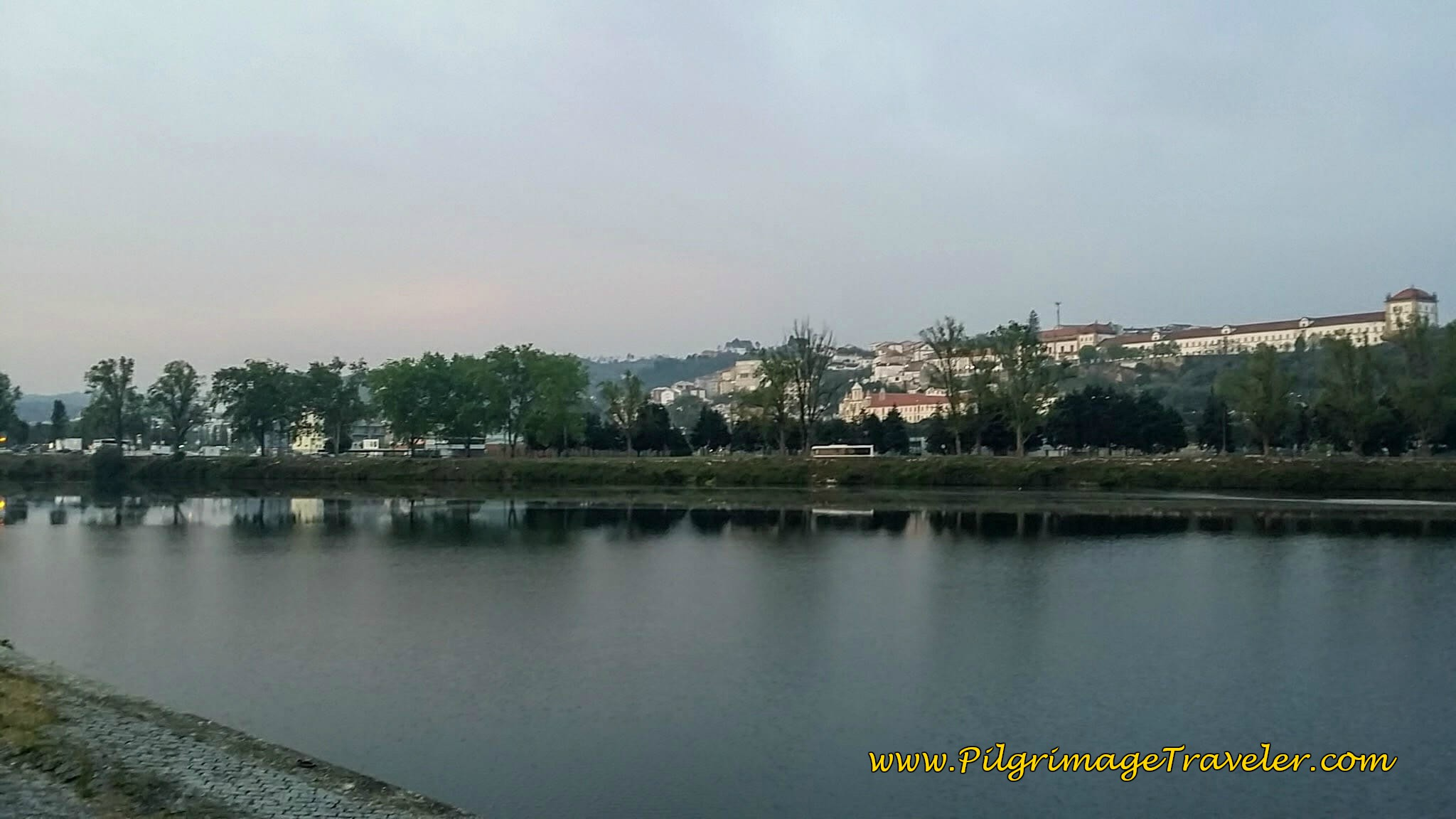 View Across the Rio Mondego, at dawn in Coimbra, Portugal