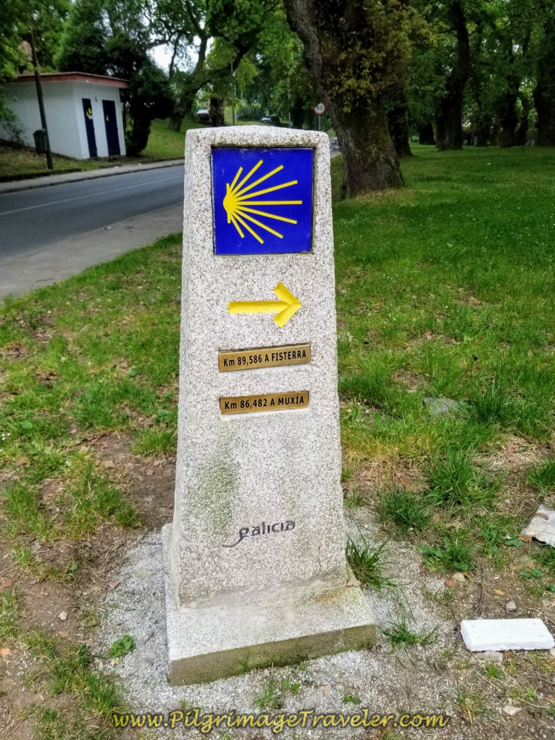 First Kilometer Marker on Day One of the Camino Finisterre/Muxía