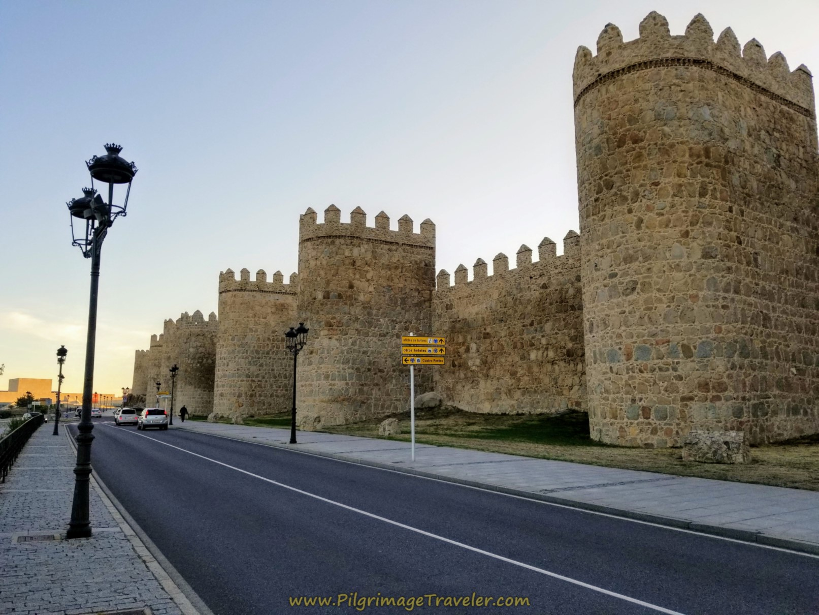 Follow the main street along the walls of Avila, on day one of the Camino Teresiano