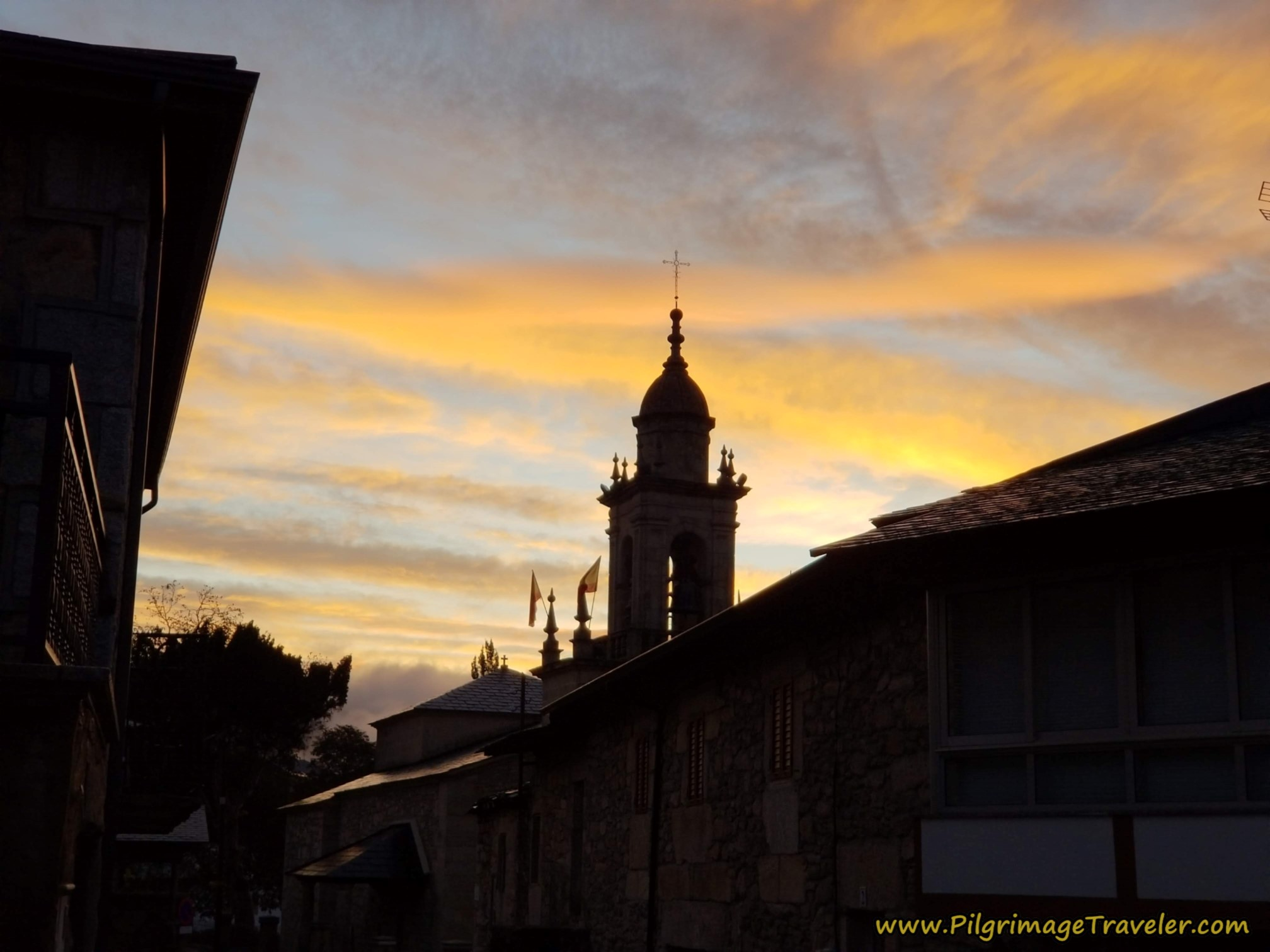 Sunrise Over the Belltower of the Iglesia de San Mamés in Lubián