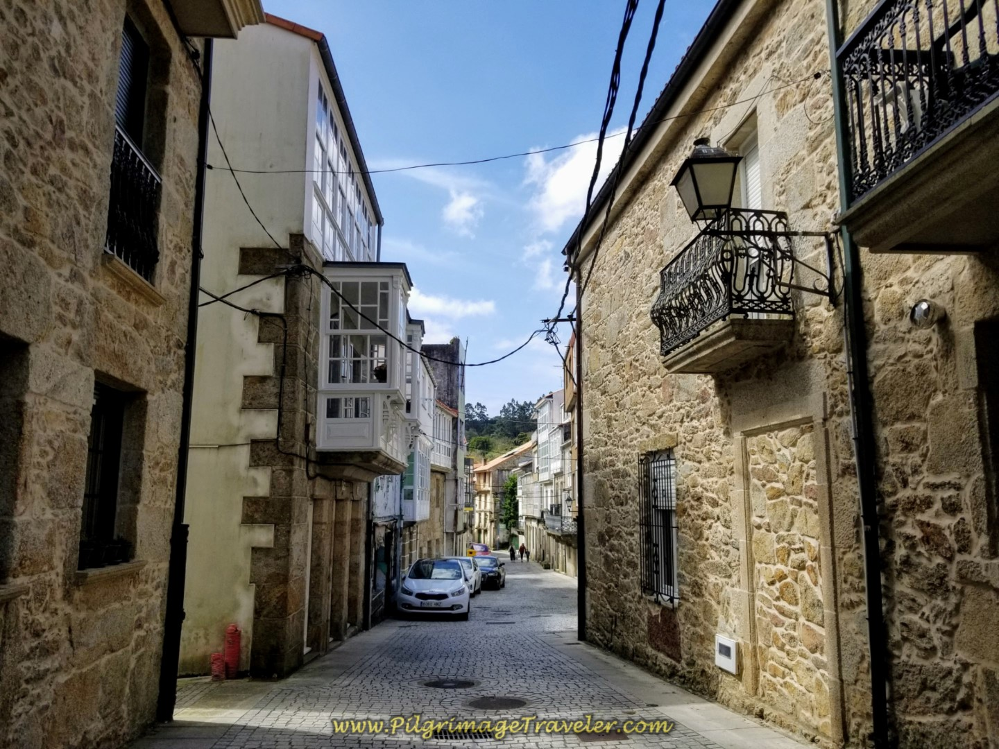 Narrow Medieval Streets of Corcubión on day three of the Camino Finisterre