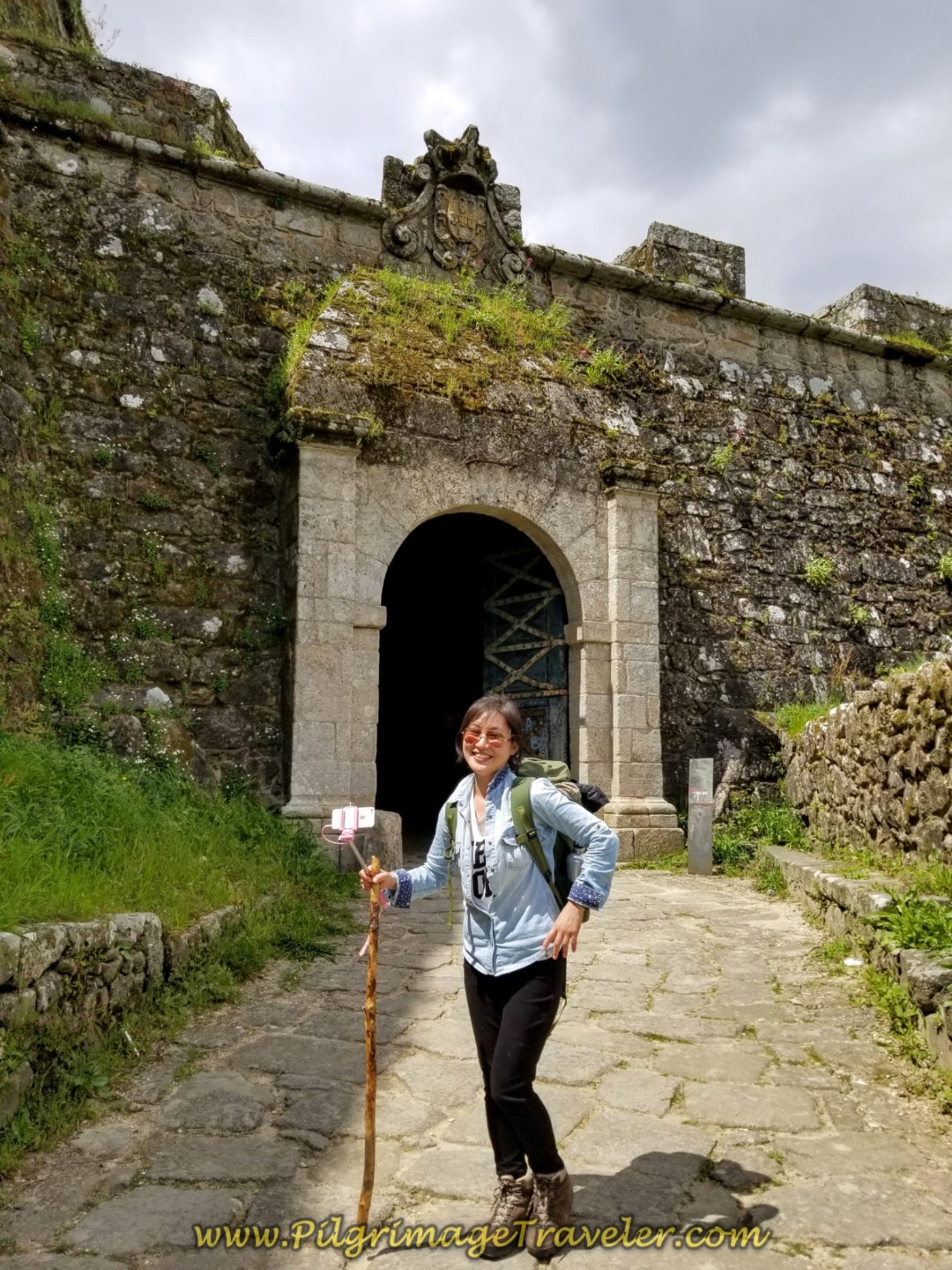 Mira at the Porta da Gabiarra, leaving Valença on day nineteen on the Central Route of the Portuguese Camino