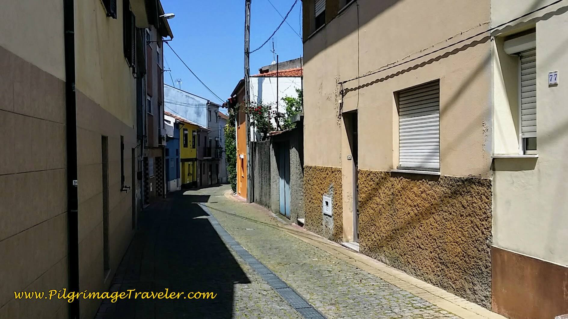 Narrow Street in Sardäo a south suburb of Agueda on day eleven of the Camino Portugués