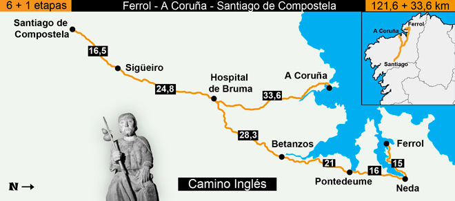 Route Map of Camino Inglés, Spain