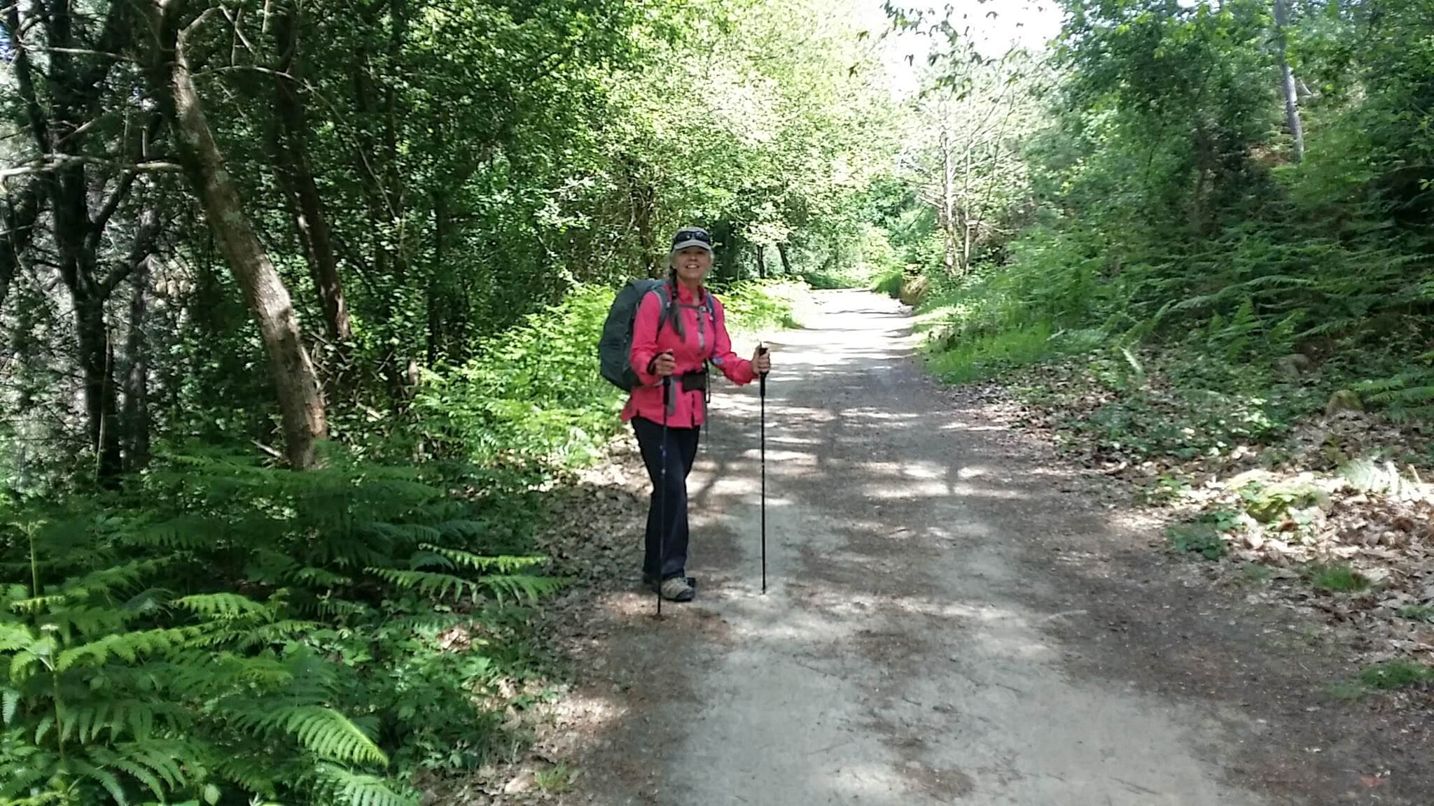 Elle on the Final Kilometers of the Senda da Auga on day twenty-one of the Camino Portugués