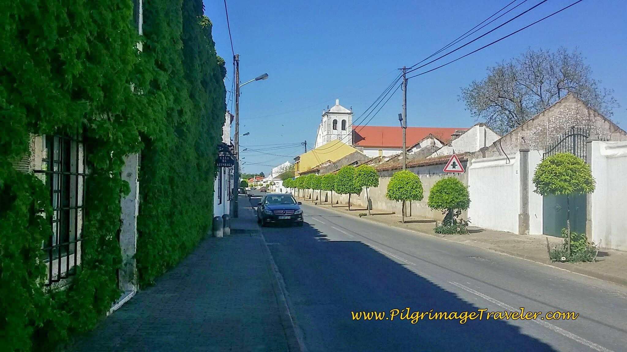 Walking Through the Center of Azinhaga on the Rua da Misericórdia