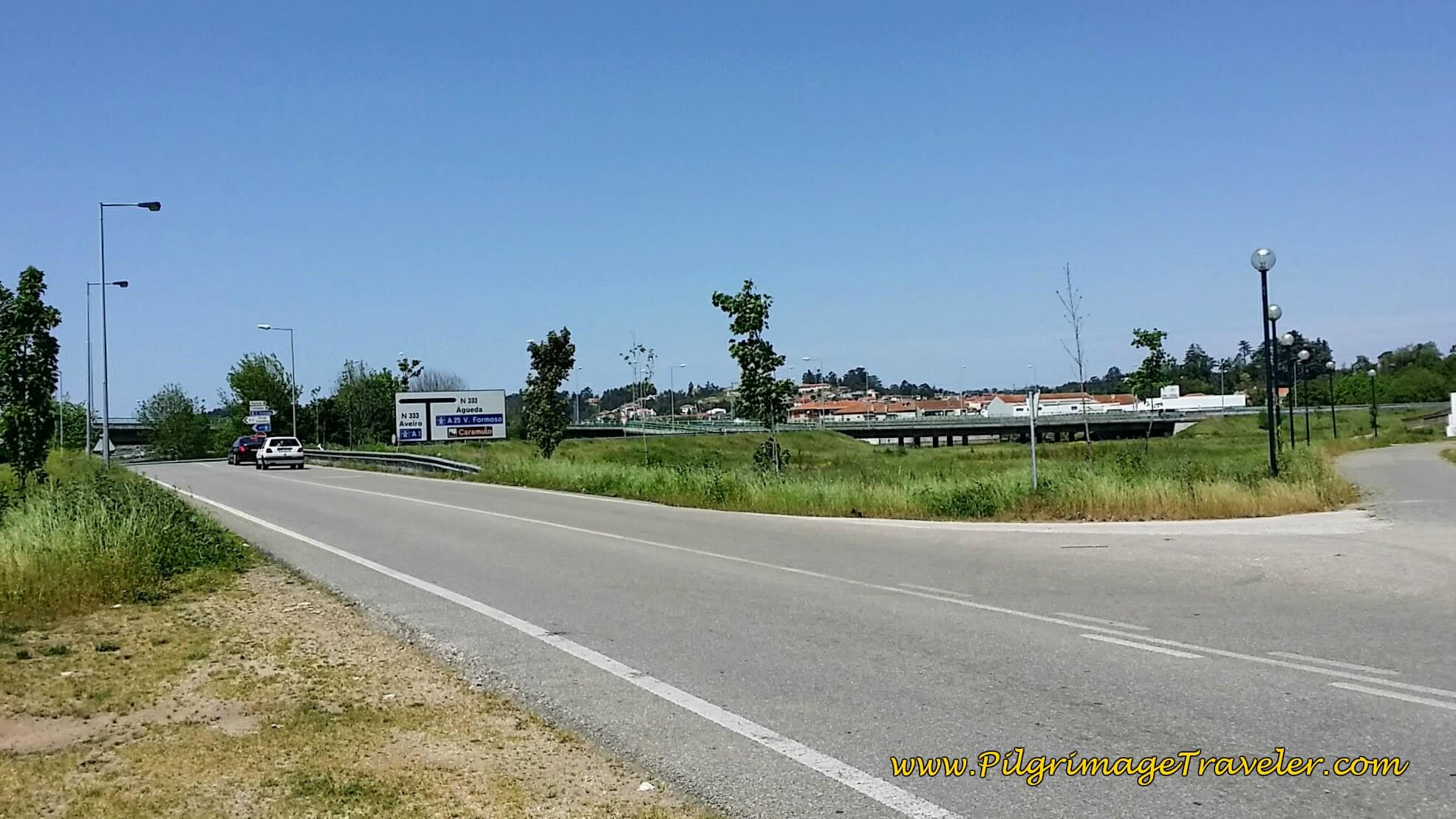 Intersection with the N1, south of Agueda on day eleven of the Camino Portugués