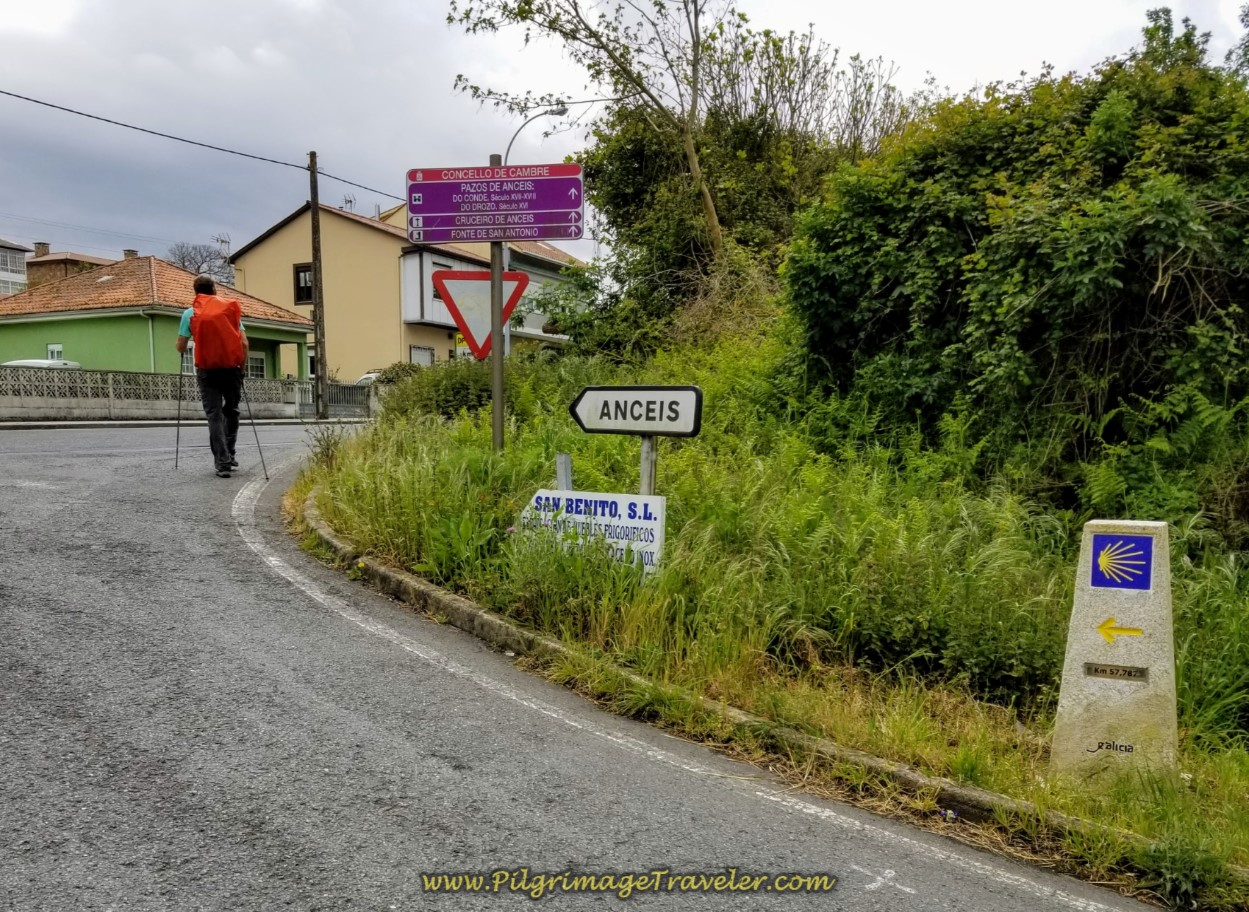 Walking Toward the Town of Anceis on day one of the La Coruña Arm of the Camino Inglés