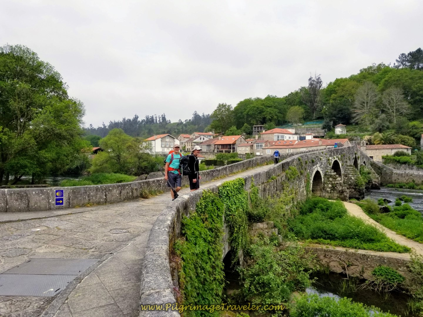 Rich and Rob on the Ponte Maceira on day one of the Camino Finisterre
