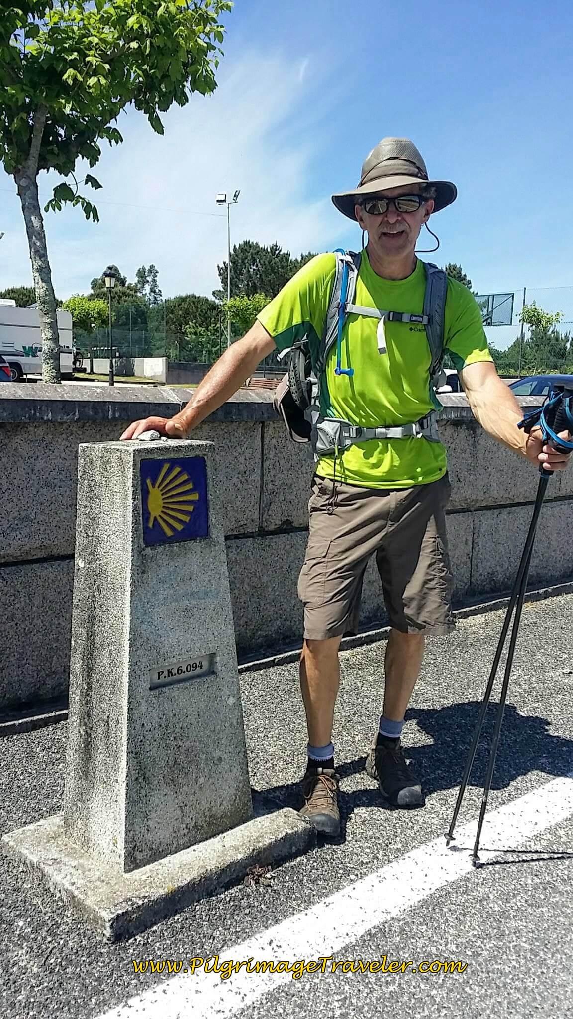 Rich at 6 Km Marker in Milladoiro on Day Twenty-Four, Portuguese Camino