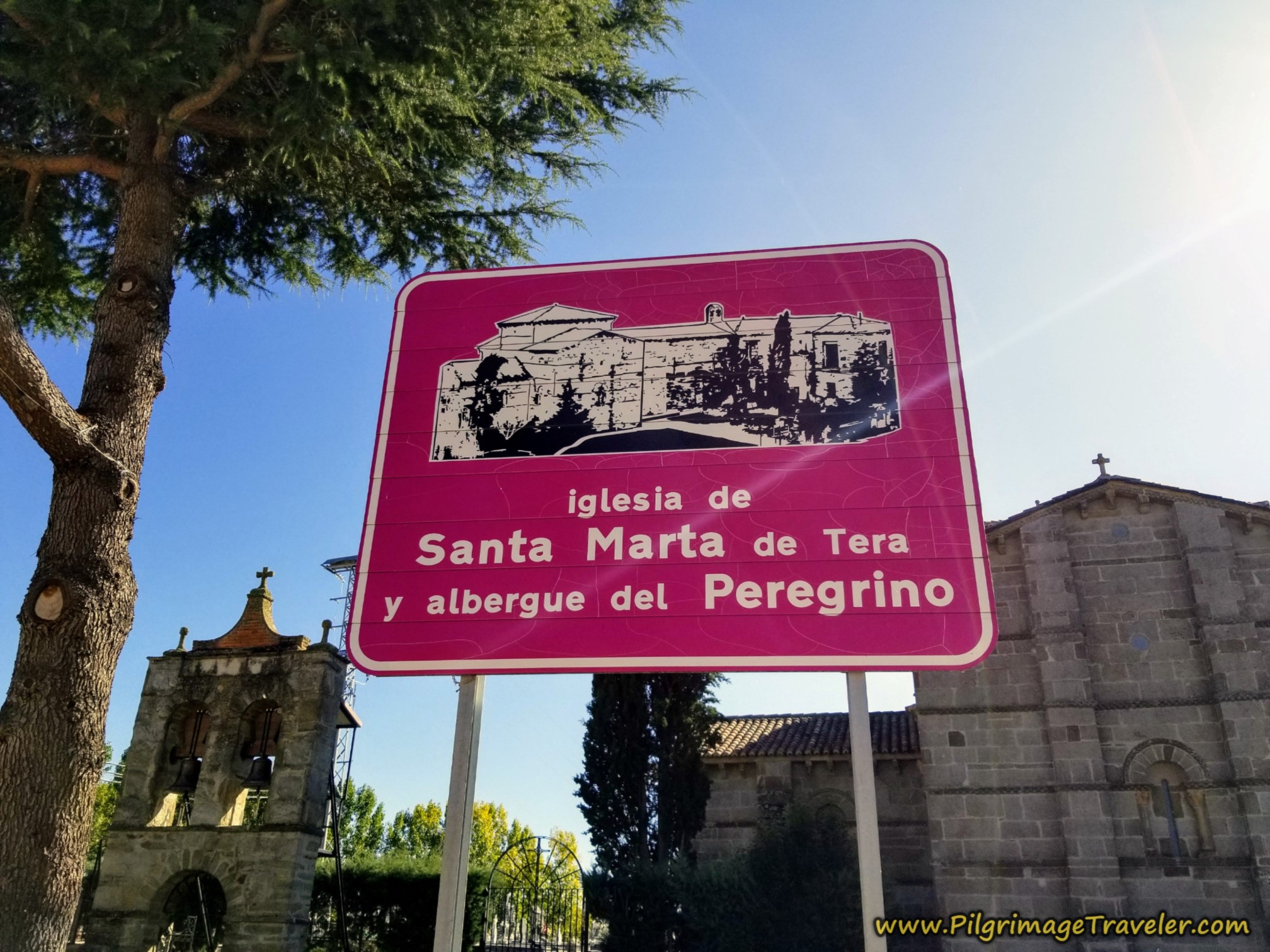 Sign for Albergue and Iglesia