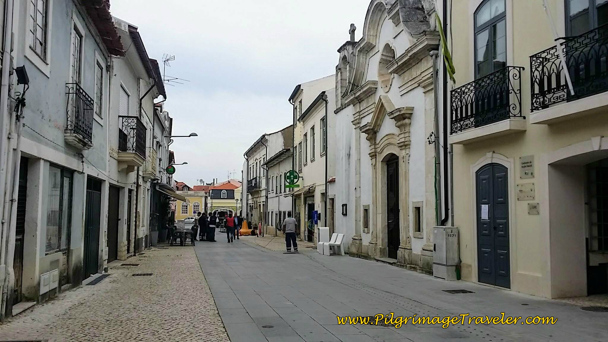 Walking thru Mealhada on the Rua Dr. Jose Cerveira Lebre on day ten of the Portuguese Way